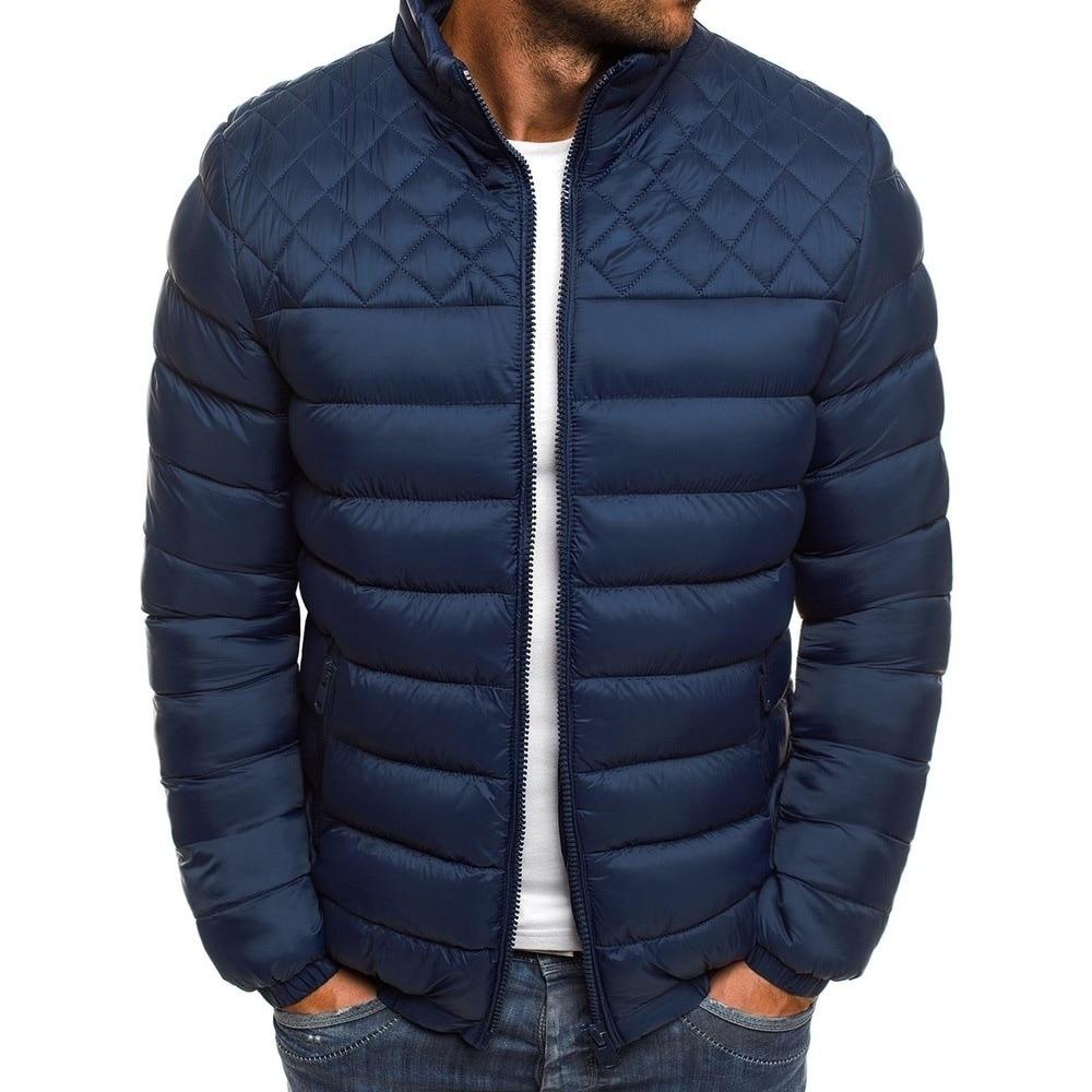 Мужская зимняя короткая стеганая куртка, Мужская облегающая простая стеганая куртка с воротником-стойкой, однотонная Большая мужская стег...