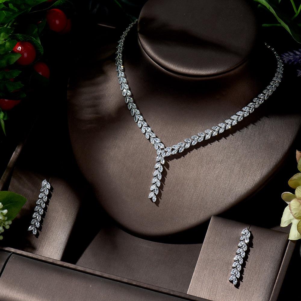 HIBRIDE-Conjunto de collar y pendientes de circonia cúbica AAA para mujer, juego...