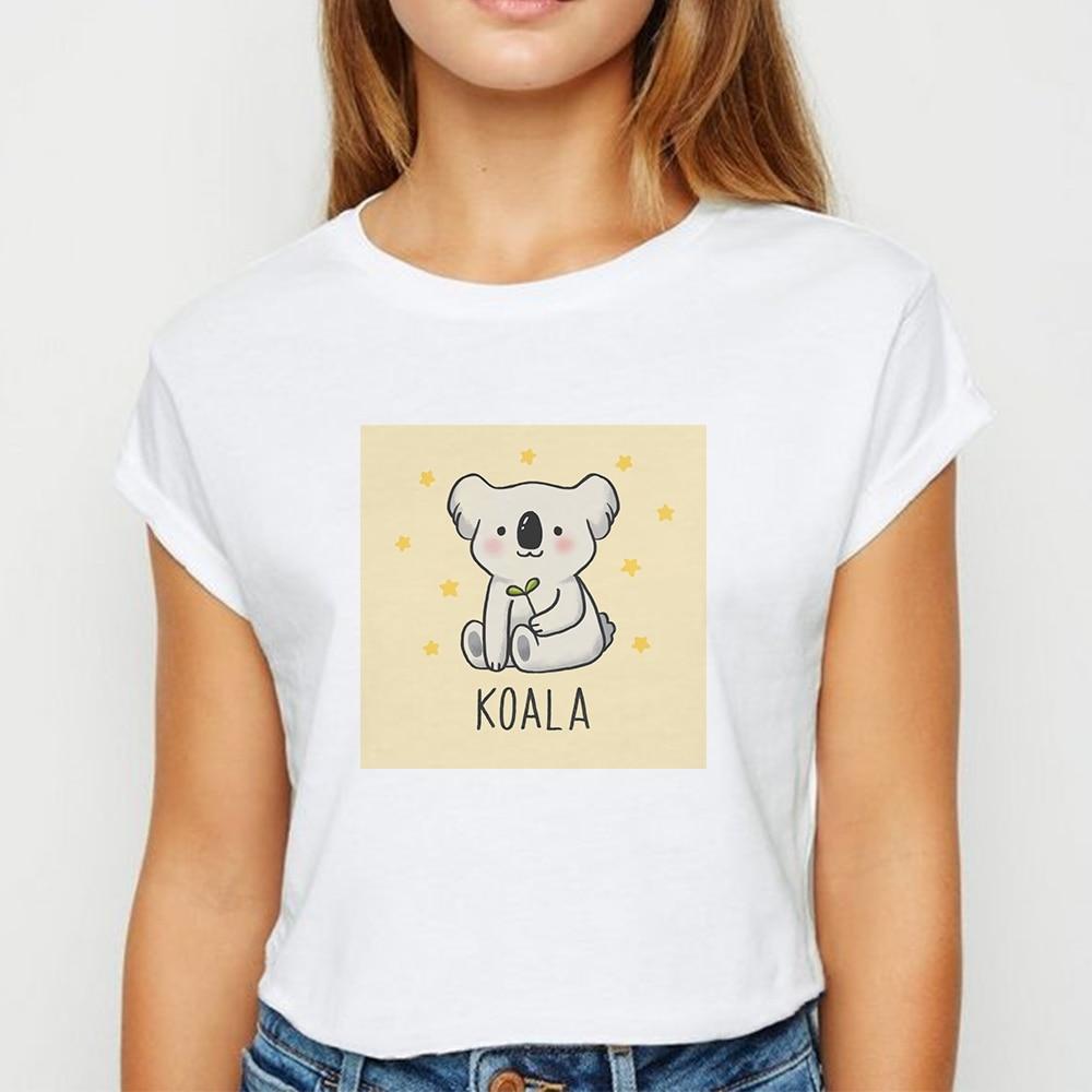 White Tops Animal Koala tshirt Ladies Girls Ulzzang Spring Summer T Shirt Harajuku Avant-garde Graphic Round Collar T-shirt