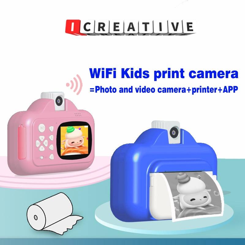 كاميرا طباعة فورية لاسلكية واي فاي طابعة حرارية صغيرة 2.4 شاشة ملونة مقاس بوصة 1080P HD طباعة الصور كاميرا فيديو لعبة أطفال هدية