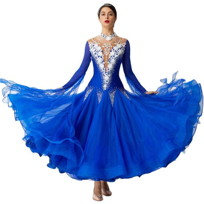 B-19612 تخصيص الأزرق الرقص الملكة اللباس الحديثة قاعة اللباس الأورجانزا المنافسة قاعة الرقص فساتين الفتيات للبيع
