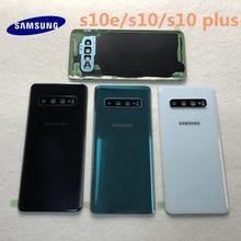 Original Samsung Galaxy S10 S10E S10 + plus batterie couverture arrière porte logement pièces de rechange + oreille caméra verre lentille cadre
