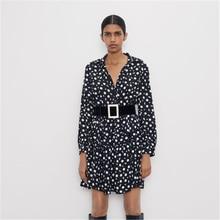 ZA 2019 Women's Dress Fashion New Autumn Women's Print Mini Dress Bohemian Women's Lapel Long Sleeve Dress Travel Party