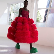 Chic rouge volants Tulle robes femmes 2020 cheville longueur longue femmes Maxi robe en Tulle fête robe de bal pour les filles noires sur mesure