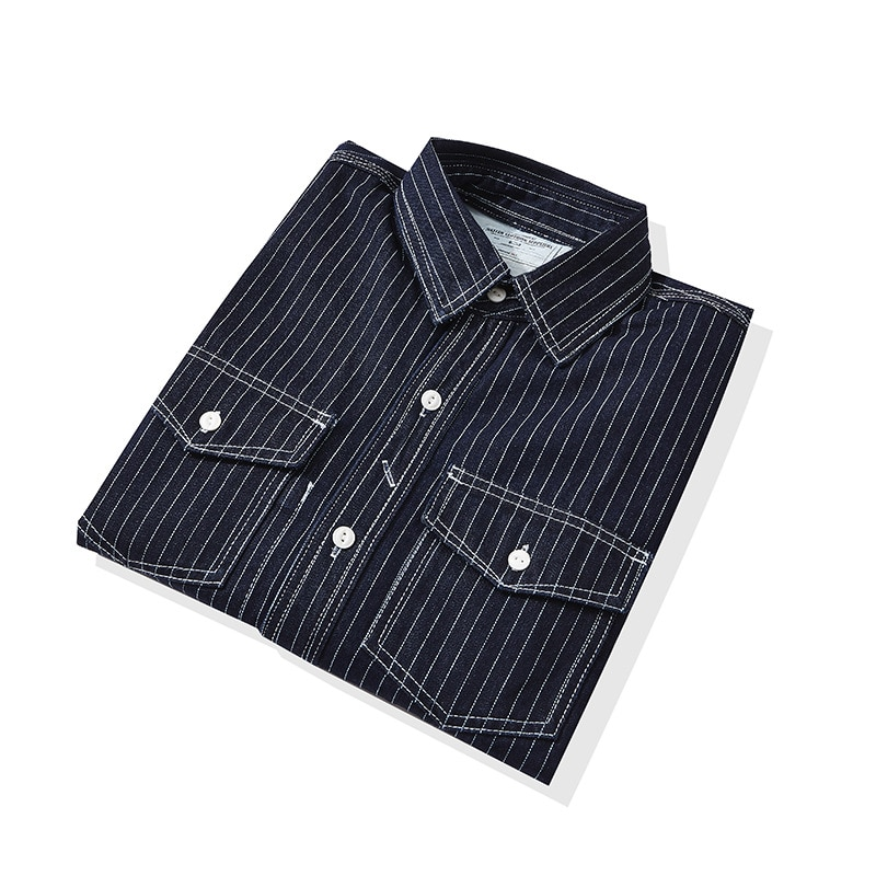 Мужская Утепленная джинсовая рубашка, Повседневная Уличная Блузка цвета индиго в полоску, с отложным воротником и длинными рукавами, одежд...