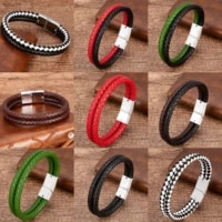 9 style high quality men bracelet multilayer genuine leather bracelets charm white black metal magnetic clasp male jewelry gifts