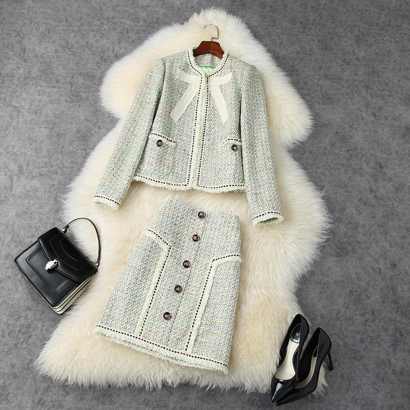 Skirt Suits Ladies Winter 2020 New Tweed Round Neck Long Sleeved Jacket + High Waist Tassels Short Skirt Two Piece Set Female