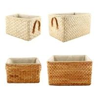 simple design straw storage box rectangular clothing basket home sundries case
