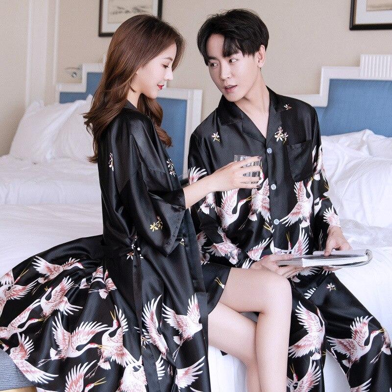 Пара% 27 ночные рубашки длинный рукав мужчины пижама комплект из двух частей женщины% 27 ночь платье комплект сна одежда шелк 5XL 4XL женщины пижамы платье