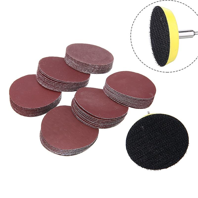 60Pcs 50mm Sanding Disc Polishing Pad Sandpaper 100-2000 Grits + 1Pcs 50mm 1/4'' Sanding Sander Backing Pad with 1Pcs Shank недорого
