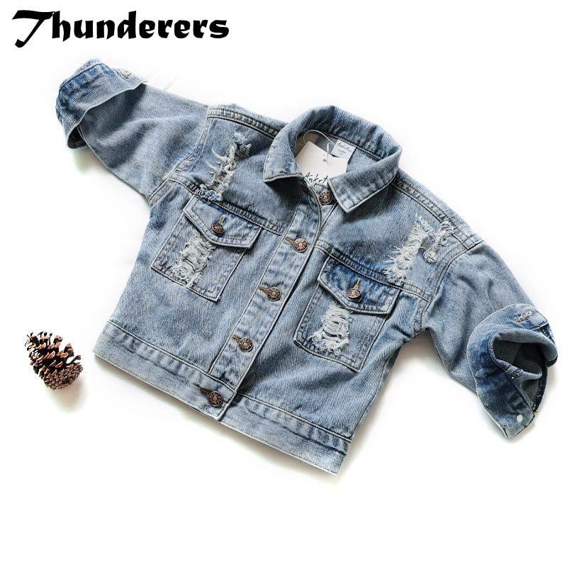 Thunderers Spring Autumn Kids Jacket For Girls Ripped Holes Children Jeans Coats Boys Girls Demin Outerwear Costume 24M-7Y