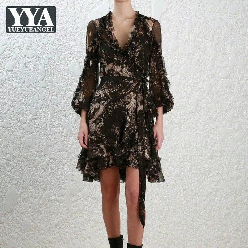 Mujeres Vintage Real vestido de seda holgado Fit cordón volantes asimétricos vestidos estampados florales nueva mujer cuello pico Sexy negro vestido