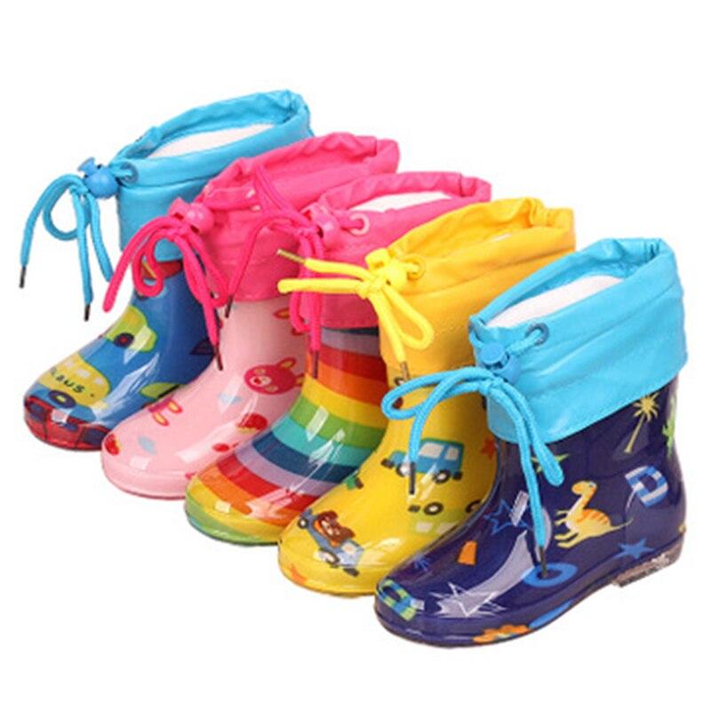 Botas de lluvia de moda para niños, botas de goma con dibujos de flores para bebés, botas de algodón de felpa, zapatos para niños y niñas, botines para bebés 06A