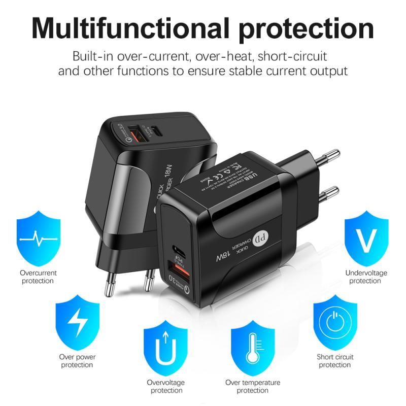 Cargador USB QC3.0 de carga rápida 3,0 18W, adaptador de cargador de teléfono móvil de pared para IPhone, carga rápida para Samsung Xiaomi