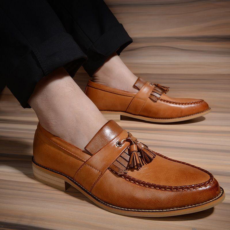 حذاء رجالي جديد موضة بو شرابة الديكور أربعة مواسم الاتجاه جودة عالية أحدث موضة الترفيه الكلاسيكية الساخن حذاء رجالي AQ055
