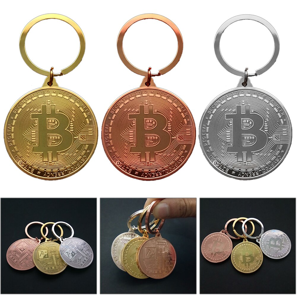 2021 New Gold Plated Bitcoin Coin Key Chain BTC Coin Art Collection Souvenirs Collectibles Business Gifts And Holiday Decor Gift