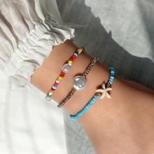 3 uds pulsera de estrella de mar Bohemia perla falsa pulsera con cuentas de colores estrella de mar tobillera verano playa pie Sexy cadena joyería