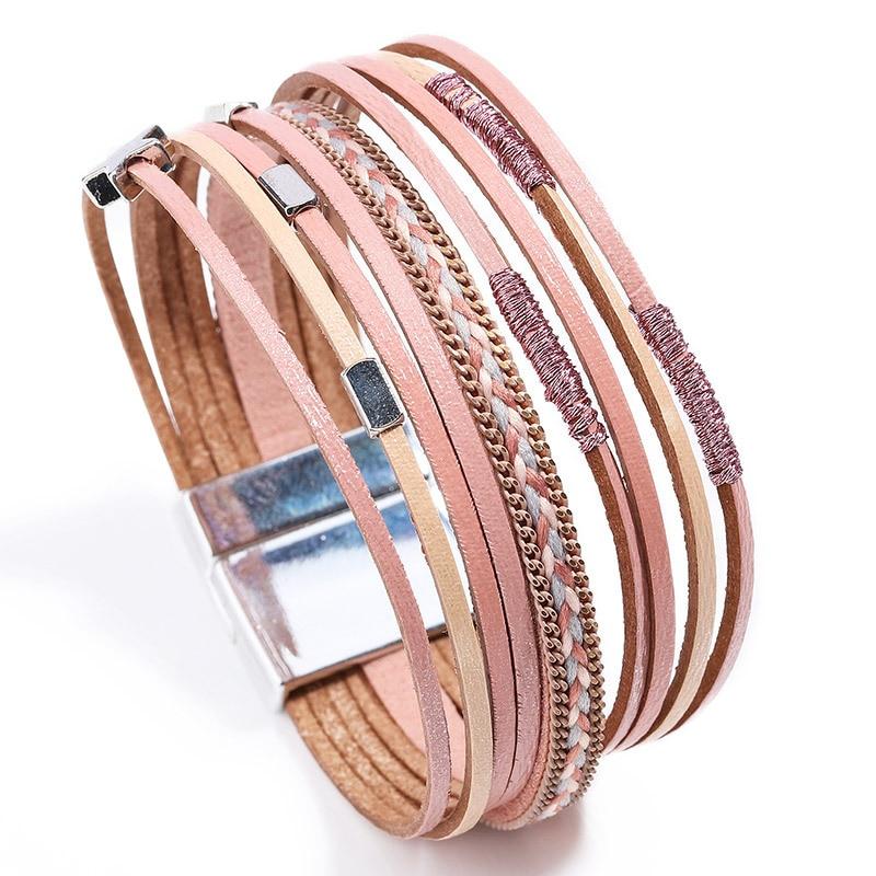 2020 New Boho Handmade Multi Layer Leather Wrap Bracelet Armband Woman Star Charm Magnetic Clasp Bracelets for Women Jewelry