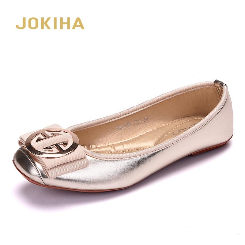 2020 Women Fashion Flats Shoes Square Toe PU Leather Shoes Women Loafers Woman Ballet Flats Shoes Girls Cute Golden Shoe 42