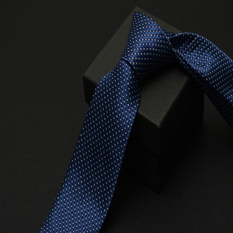 High Quality 2020 New Fashion Ties Men Work Formal 7cm Blue Grid White Point Tie Wedding Party Neckties Designers with Gift Box