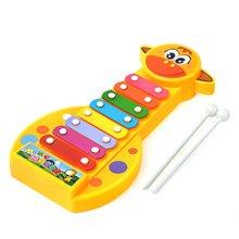 Bébé début Instrument de musique 8-Note mignon girafe main frapper Piano avec des tiges de frappe développer jouet de musique pour enfants Mini piano