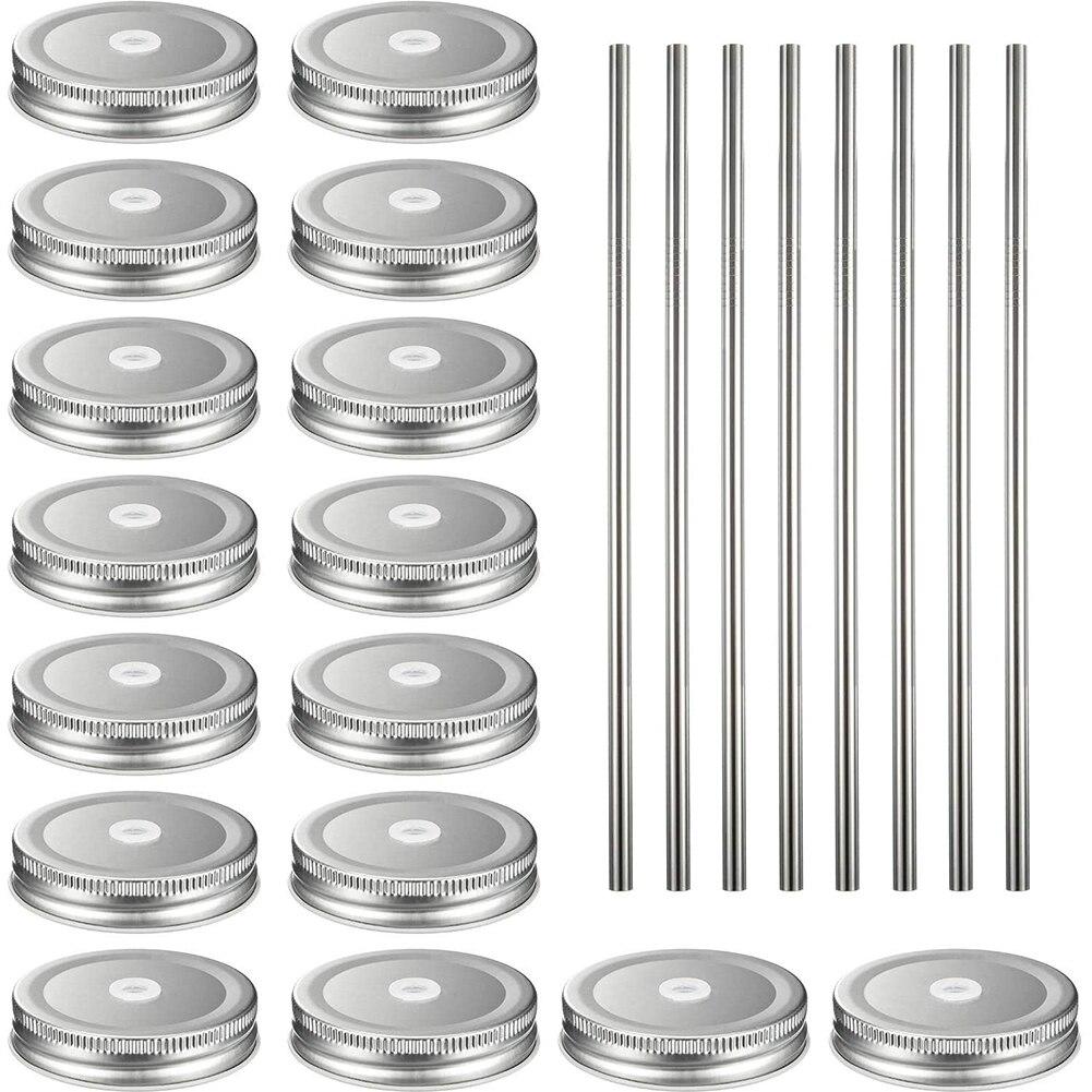 16 Uds. Tapas de tarro de masón reutilizables para el hogar a prueba de fugas hojalata para conservas de pajitas de acero inoxidable botellas de vidrio seguras redondas portátiles