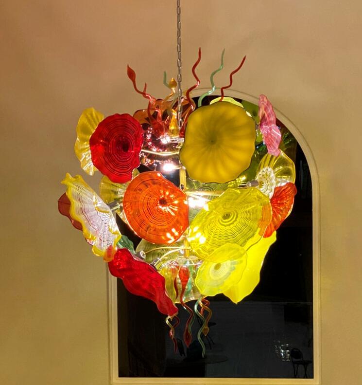 Candelabro de techo artístico de cristal de Murano LED personalizado, lámpara italiana de placas de flores, lámpara de decoración de Hotel para el hogar, lámpara de araña de cristal soplada a mano