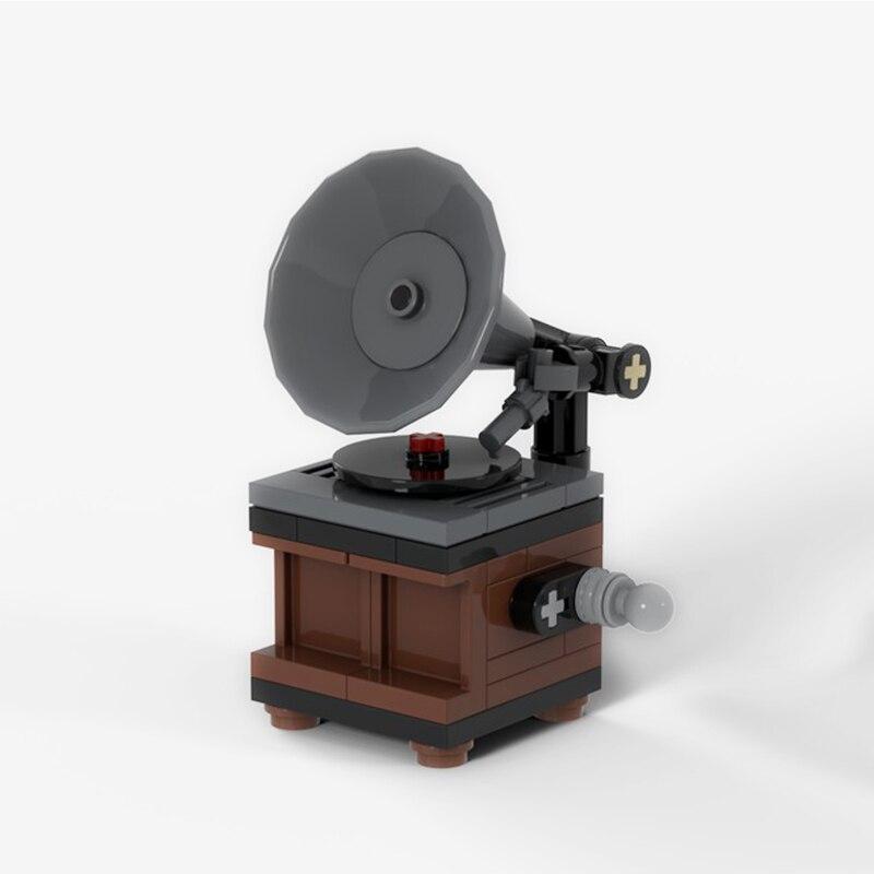 Bloques de construcción compatibles MOC-19960 tocadiscos Vintage bloques técnicos regalos se ajustan a lepining Diy juguete regalo de Navidad