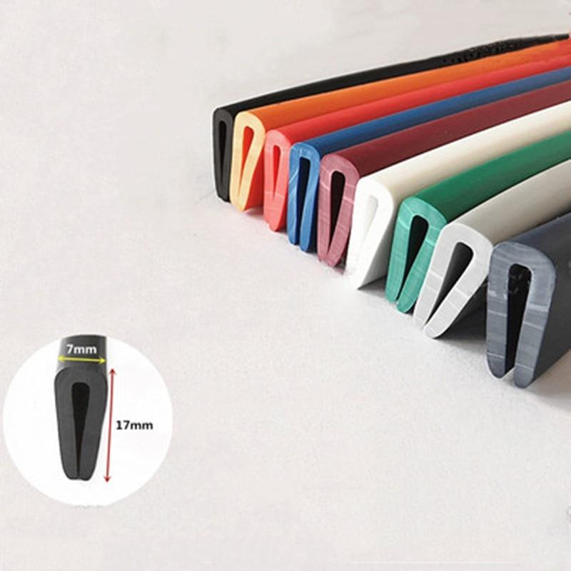 Goma Seas U Strip 17x7mm para 1 - 3mm de espesor de vidrio de Metal Panel de madera borde Escudo de cierre naranja negro rojo gris azul verde