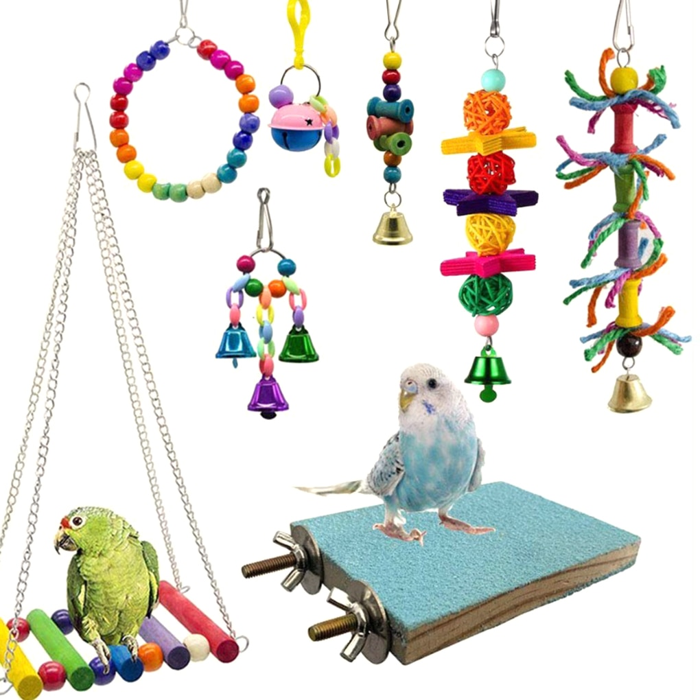 8PCS/Set Random Color Wooden Bead Bird Toy Kit Parrot Cage Swing Toys Birds Chewing Hanging Bell