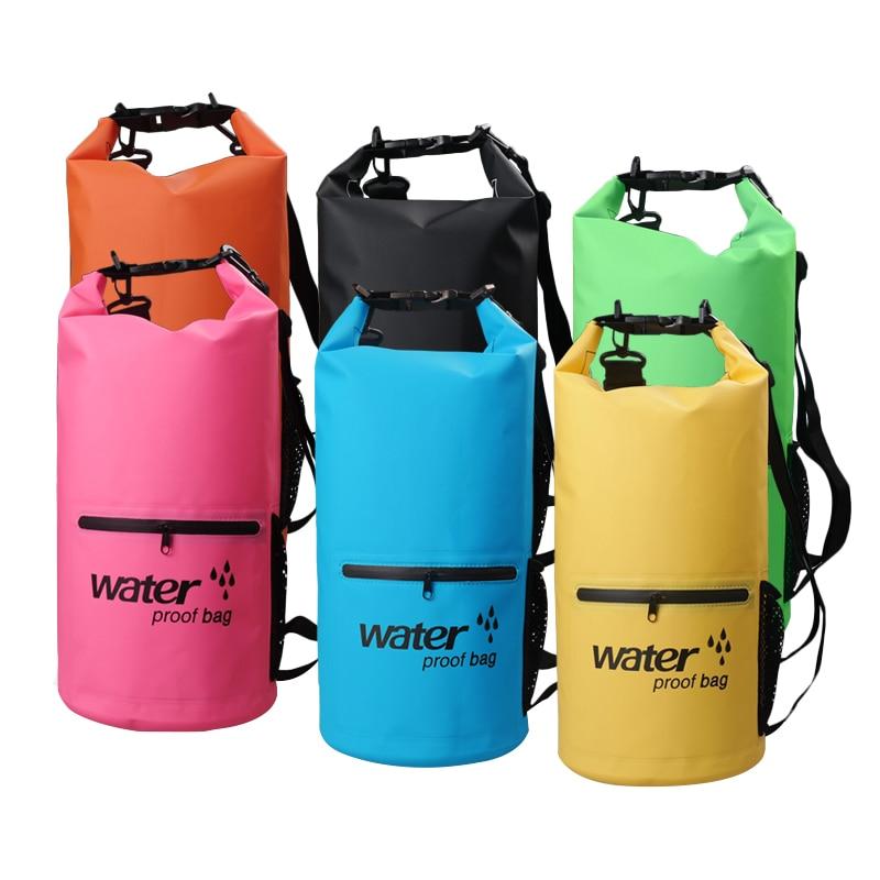 Bolsa de secado ultraligera 10L 20L bolsa impermeable doble correa de hombro para organizadores al aire libre río Trekking natación a la deriva kayak