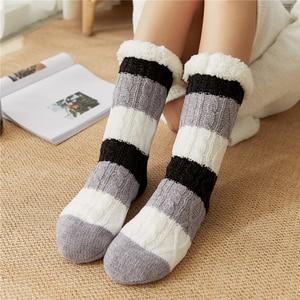 Thick Warm Sleep Socks Slippers Thicken Women Girls Print Stripe Casual Non Slip Warm Winter Mid Tube Cute Socks