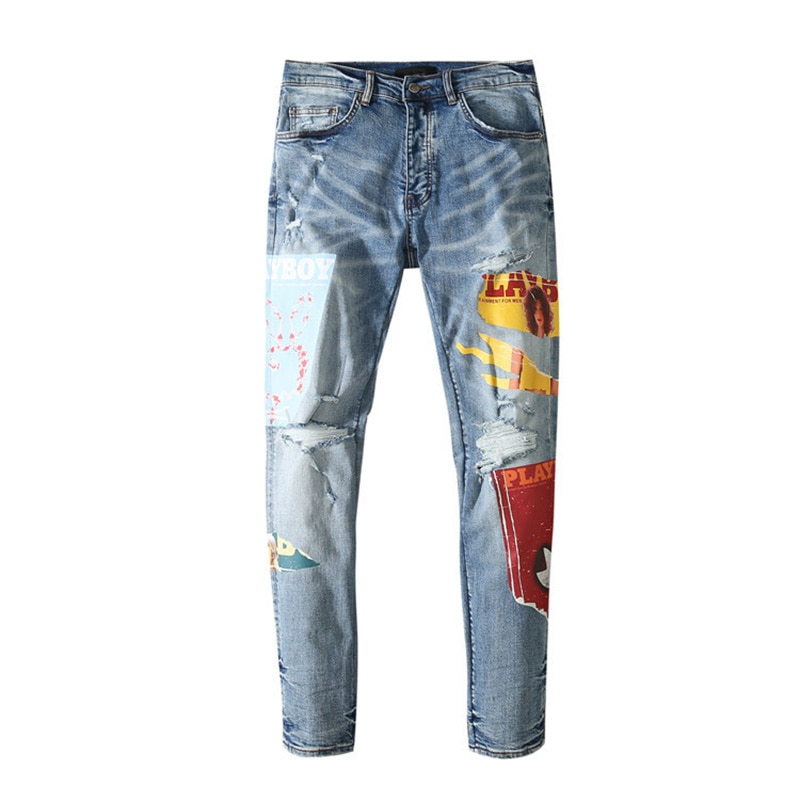 American Famous Brand AMR 2021ss Jeans for Man New Patch Ripped Jeans Streetwear Techwear Traf Pants Men Trousers Men's Clothing