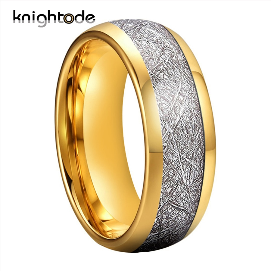 8mm White Meteorite Inlay Gold Tungsten Tungsten Carbide Rings   For Men Women Tungsten Engagement Ring Polishing Dome Band