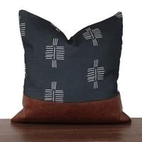 4545 linen cotton zebra striped throw pillow pu leather patchwork pillowcase home decor sofa chair decorative cushion cover