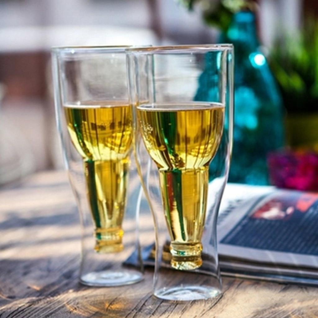 JM 2019 nuevos productos calientes de doble pared de vidrio de cerveza Hopside cuello largo boca abajo regalo invertido bebiendo Familia bajo precio envío