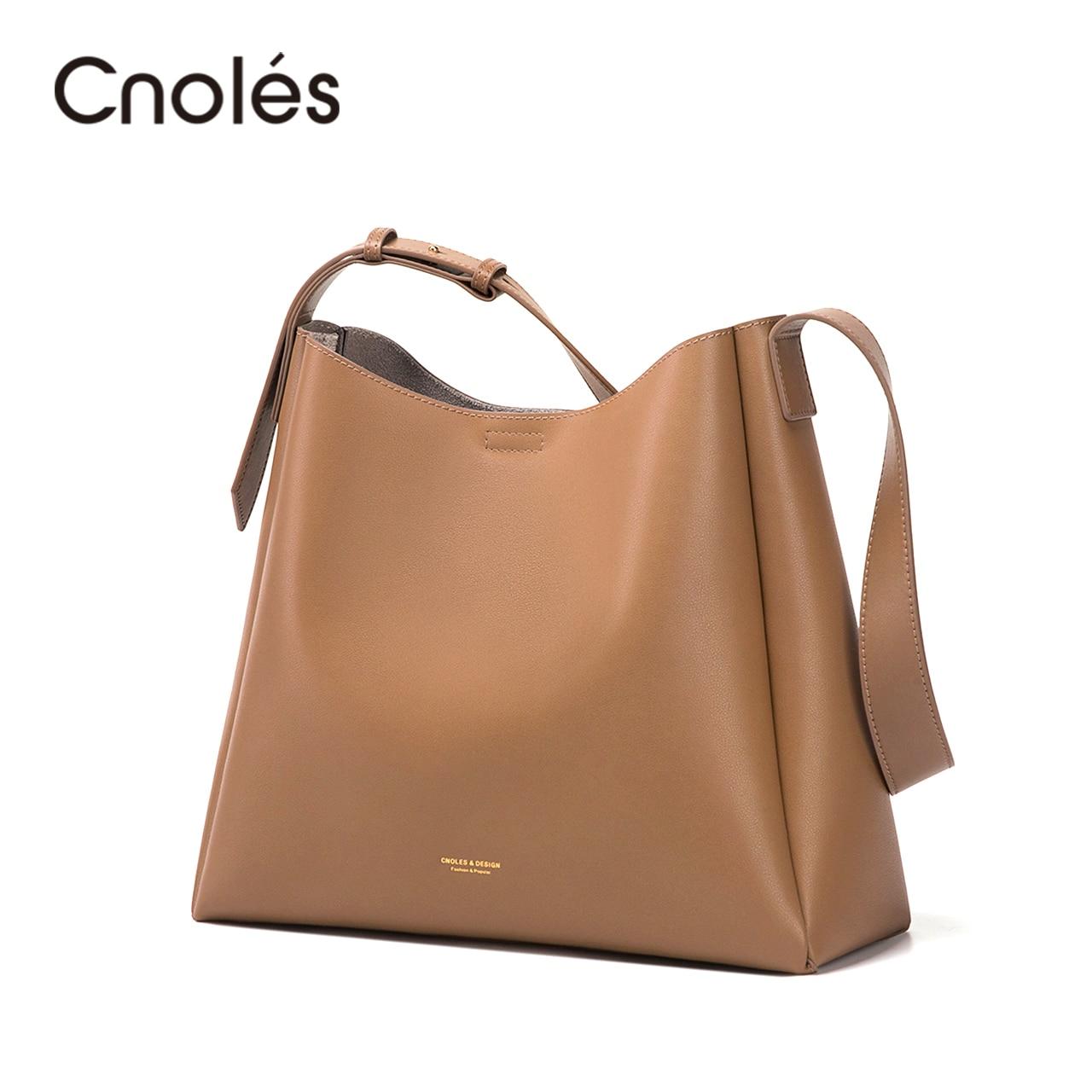 Cnoles جلد طبيعي حقيبة حمل عادية خمر حقائب النساء حقيبة يد فاخرة للنساء حقيبة كتف المرأة الكبيرة حقيبة المتسوق