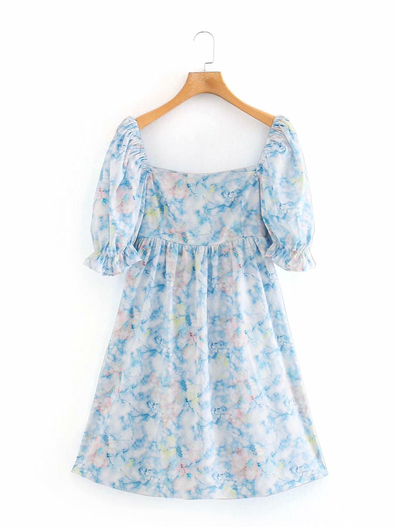 2020 Spring Summer New Retro Print Recipients Puff Sleeve zaraing women Dress vadiming sheining female dress sexy sweet XDN9567