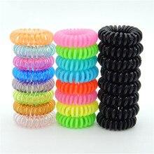 10 шт телефон провода эластичные резинки для волос пластиковые резинки без складки катушки для волос конский хвост аксессуары для волос