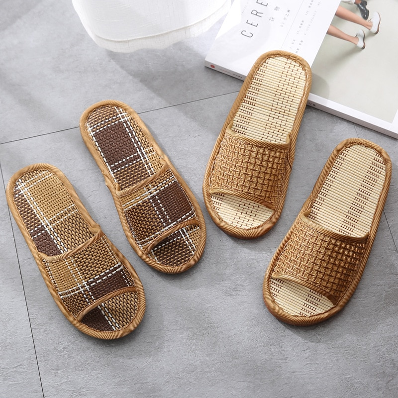Straw wicker slippers, couple home slippers, wooden floor slippers, summer sandals and slippers  slippers  shoes woman  wedges
