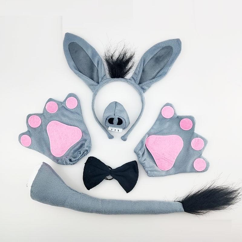 Adulto crianças menino menina burro cosplay animal traje carnaval festa adereços halloween bandana cauda gravata nariz pata role play masquerade