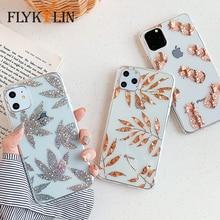 Étui pour iphone 11 Pro Max X XS XR 7 8 + paillettes FLYKYLIN Coque arrière en Silicone TPU feuille dargent ananas or Rose