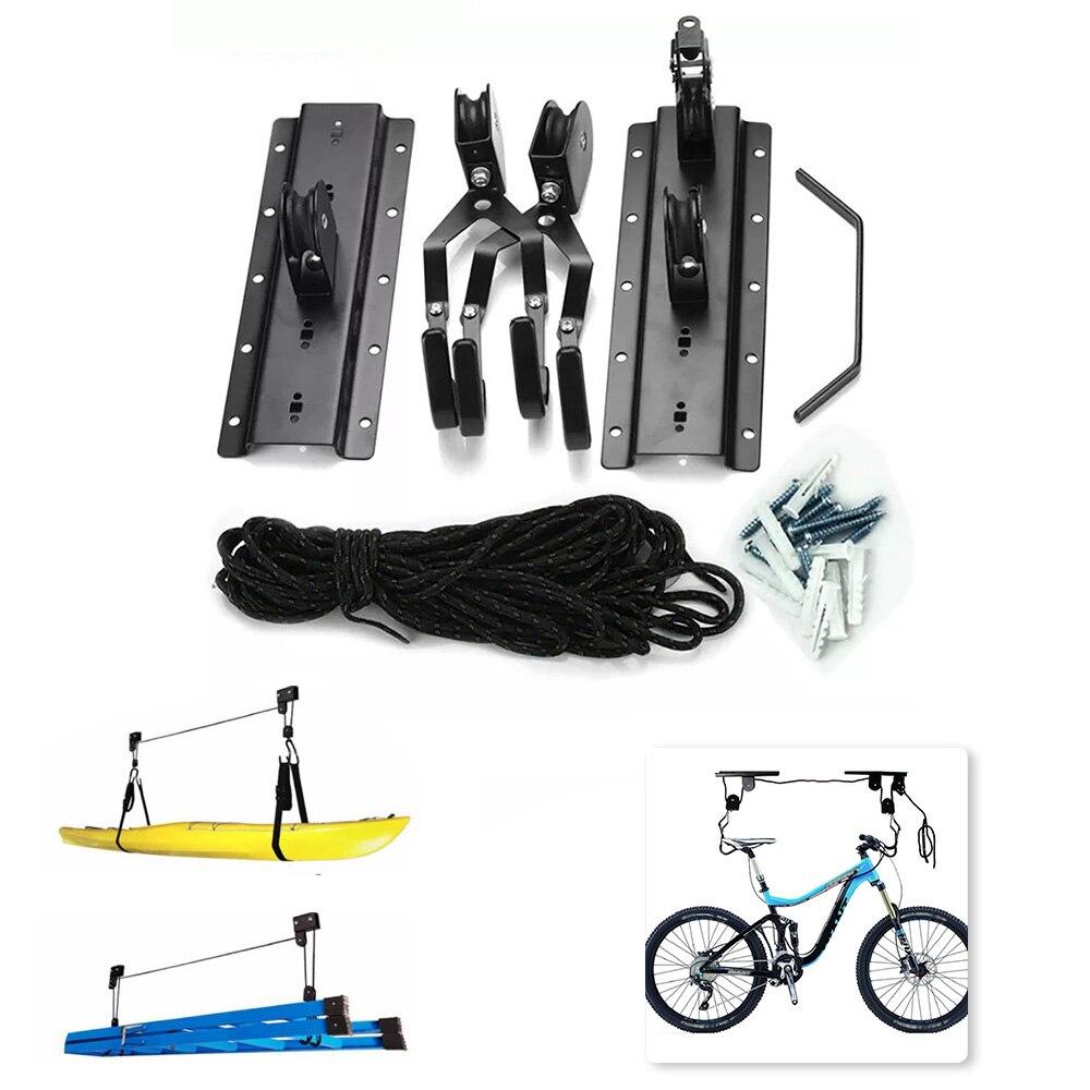 Elevador de techo Universal Negro para bicicleta, carga de 40kg con gancho, levantamiento de bicicletas, bicicleta, Kayak, escalera de carga, accesorios para bicicleta