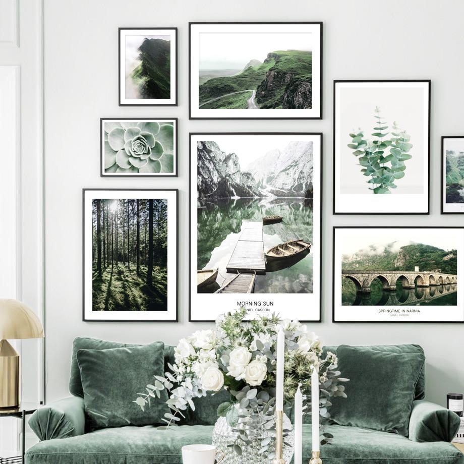 Natureza paisagem lago verde barco eucalipto ponte arte da parede pintura da lona nordic posters quadros de parede casa sala estar decoração