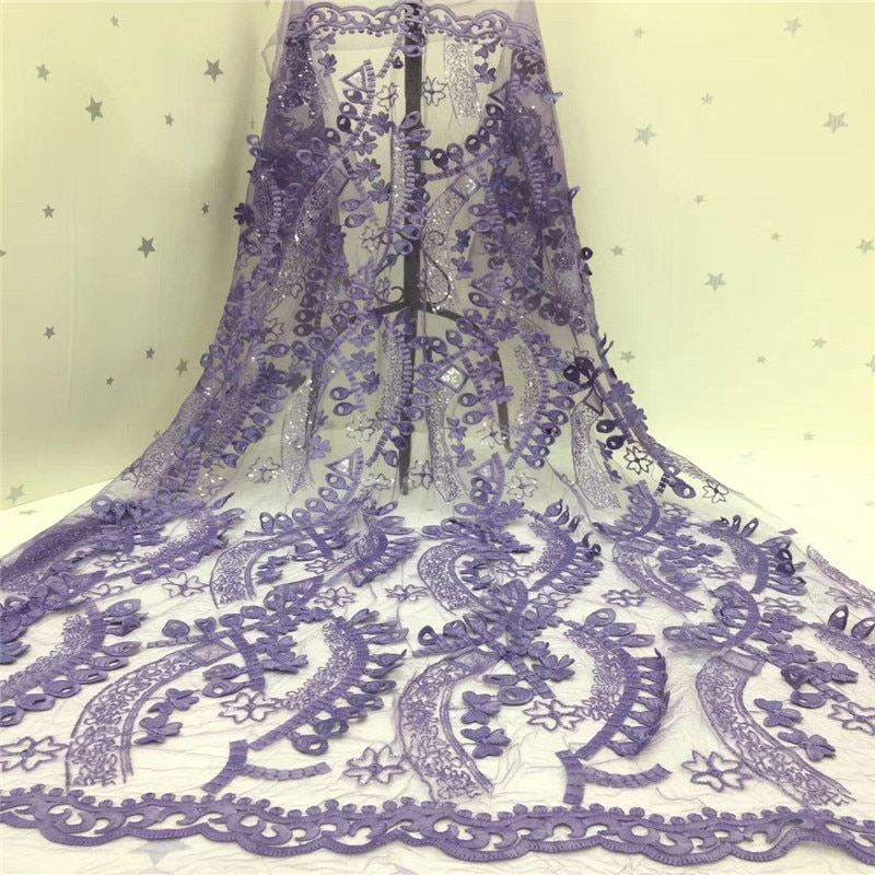 Tela de encaje de malla Africana 2020 púrpura de alta calidad 3d encaje nigeriano tejidos de encaje para bodas lentejuelas Material de encaje de tul francés