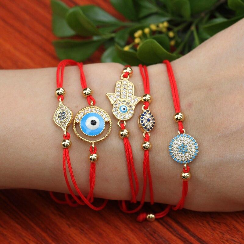 Pulsera de ojo turco, cordel rojo ajustable, microcirconita cúbica, mano de ojo turco, palma del destino, cadena de Kabbalah para mujeres/niñas