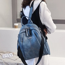 female novelty pu leather black blue backpack for women causal daypack soft large capacity knapsack