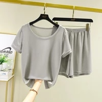 ice silk thin pajamas for women new short sleeve shirt pant two piece set casual home clothes screw thread pyjamas female