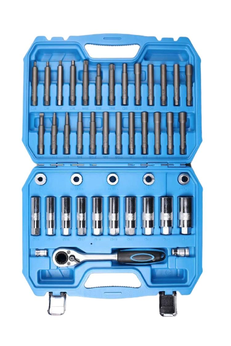 43pc Shock Absorber Strut Nut Go-thru Socket Set & Ratchet  Steering Hub Suspension Shock Absorber Nut Removal Tool Socket Kit