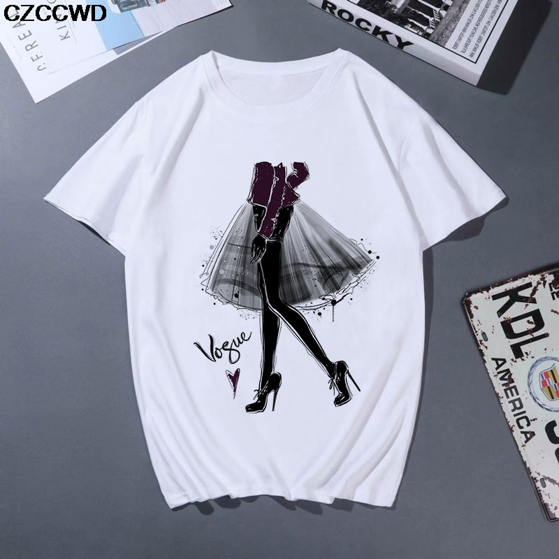 Women Clothes New Fashion White Tshirt Harajuku Aesthetic Vogue T Shirt Leisure Streetwear Trend Female T-shirt Tops Shirts XXL